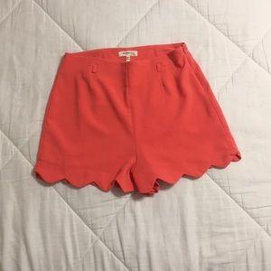 Pink/orange scalloped dress shorts